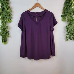 Torrid Cage Neck Flowy Drape Blouse, Purple